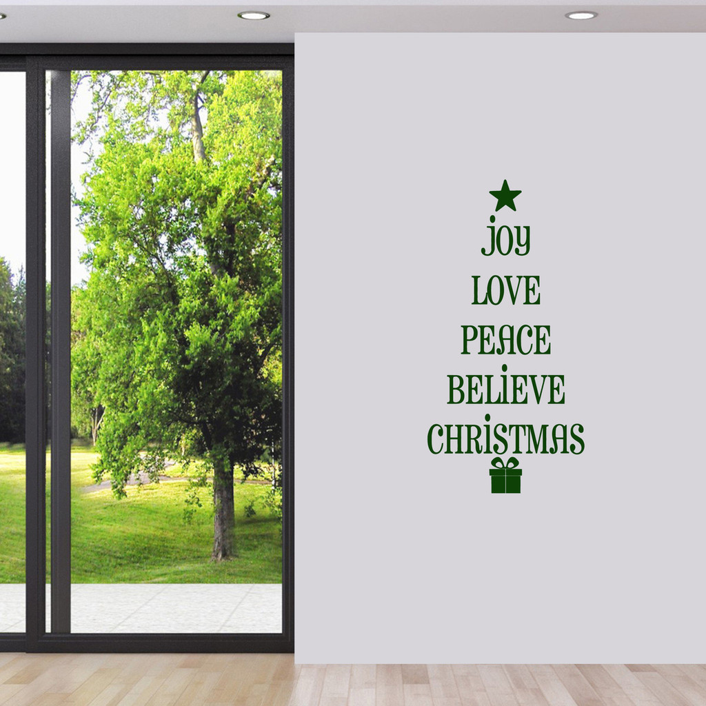 "Christmas Tree Words Wall Decal 18"" wide x 36"" tall Sample Image"