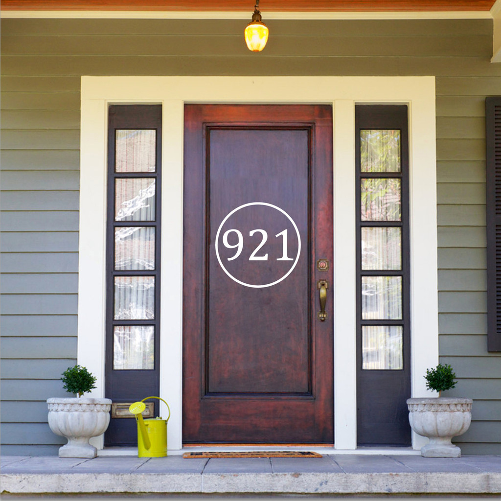 """Custom Circle House Number Decal 18"""" wide x 18"""" tall Sample Image"""