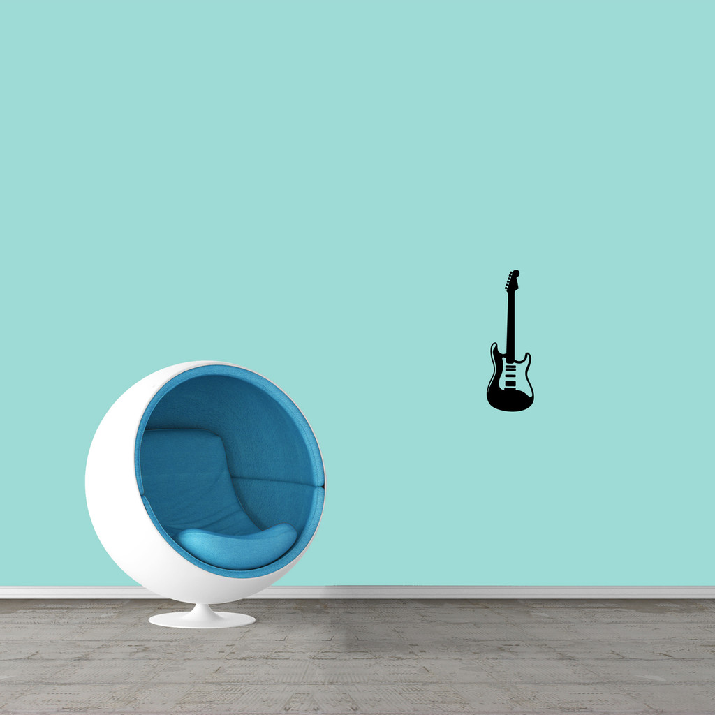 """Electric Guitar Wall Decal 6"""" wide x 18"""" tall Sample Image"""