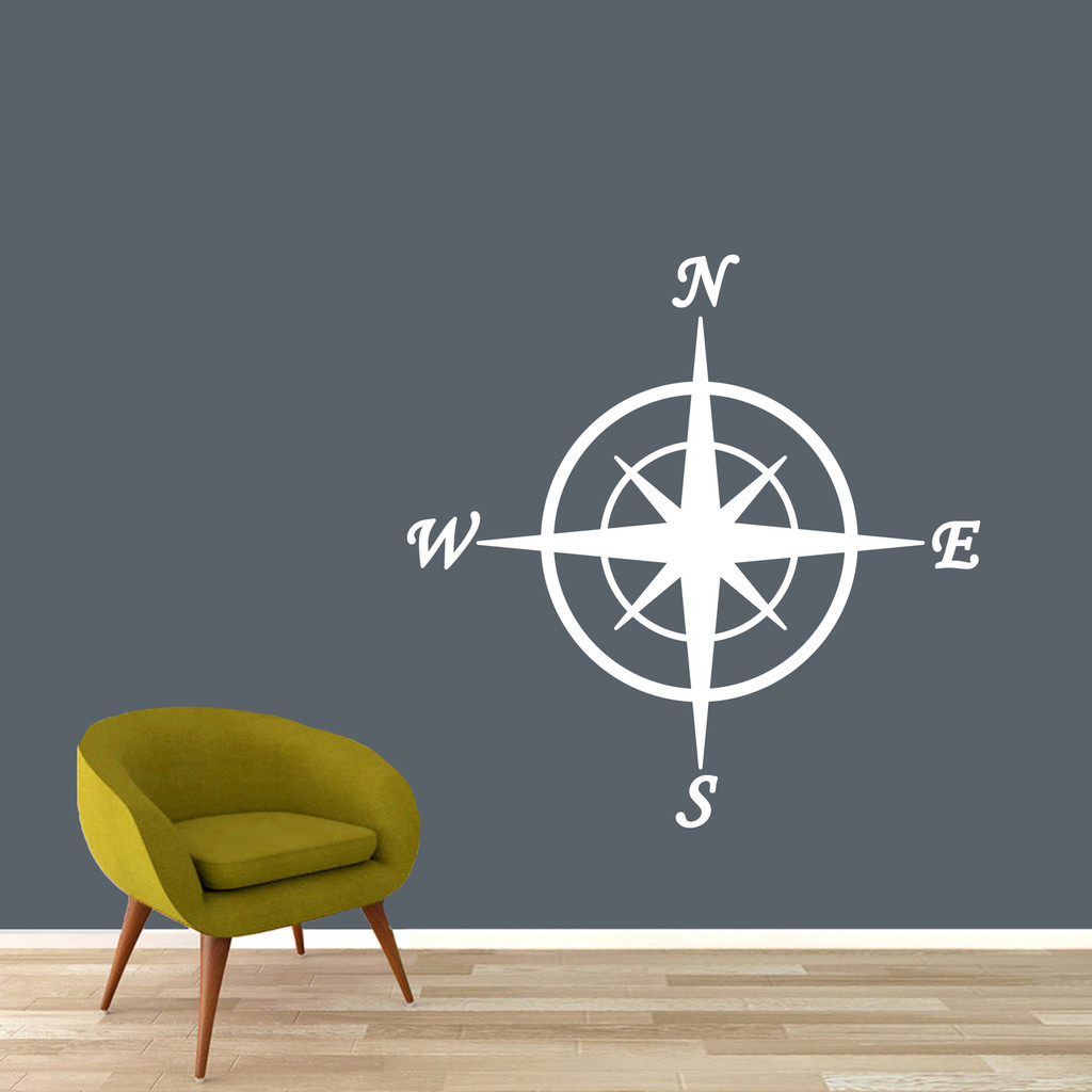 "Compass Wall Decal 36"" wide x 36"" tall Sample Image"