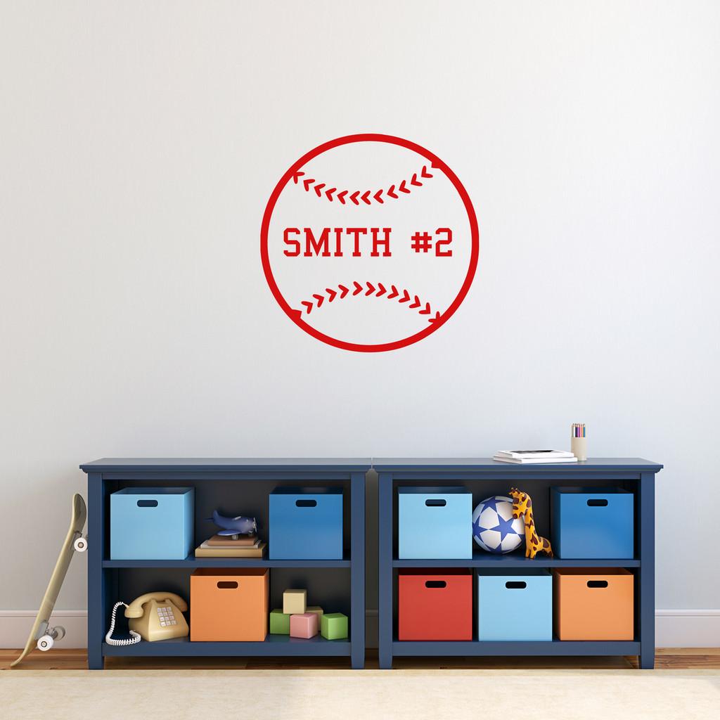 "Custom Baseball Wall Decal 22"" wide x 22"" tall Sample Image"