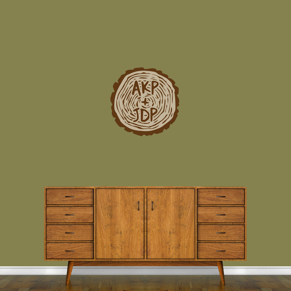 """Custom Carved Tree Trunk Printed Wall Decal 18"""" wide x 18"""" tall Sample Image"""