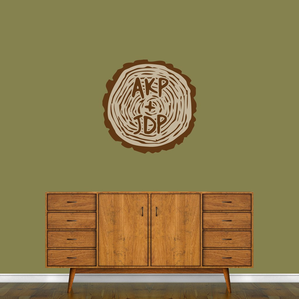 """Custom Carved Tree Trunk Printed Wall Decal 24"""" wide x 24"""" tall Sample Image"""