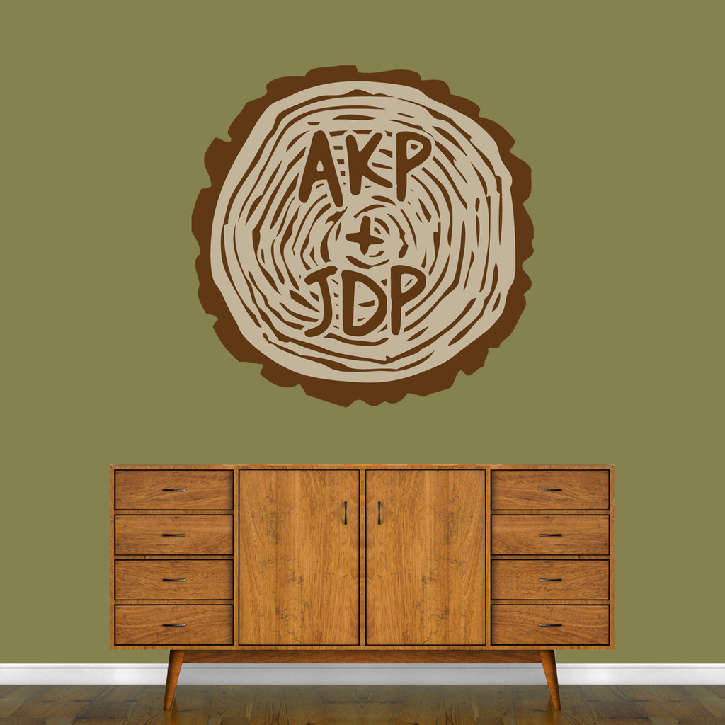 """Custom Carved Tree Trunk Printed Wall Decal 36"""" wide x 36"""" tall Sample Image"""