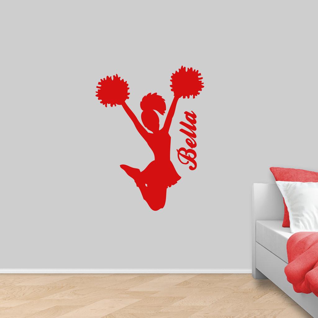 """Custom Cheerleader Wall Decal 27"""" wide x 36"""" tall Sample Image"""