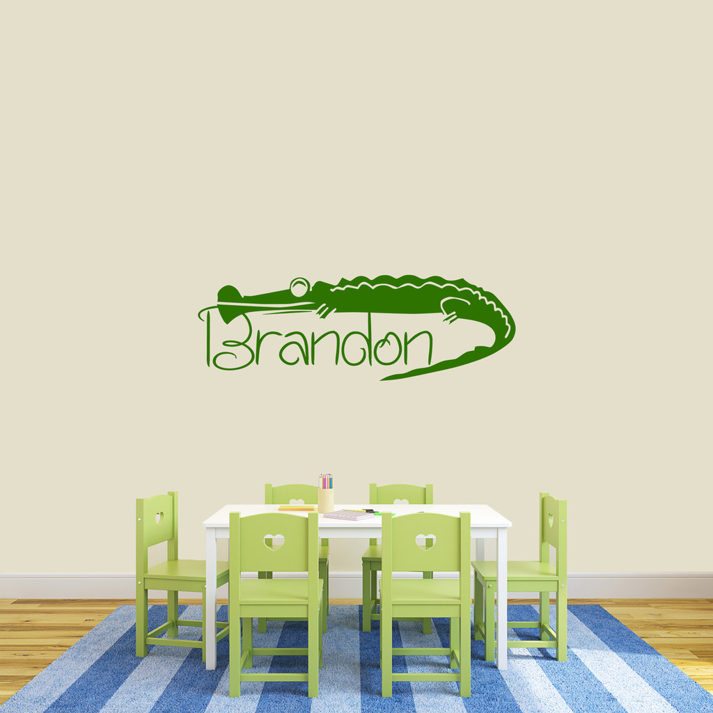 "Custom Crocodile Name Wall Decal 48"" wide x 16"" tall Sample Image"