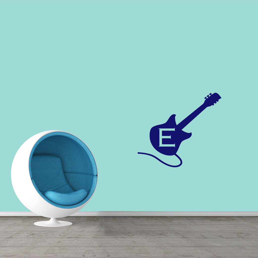 "Custom Guitar Monogram Wall Decal  36"" wide x 32"" tall Sample Image"