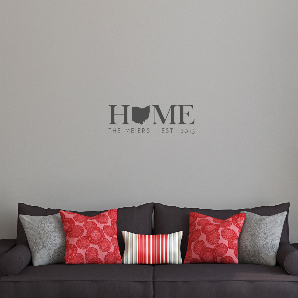 "Custom Home State Wall Decal 24"" wide x 8"" tall Sample Image"