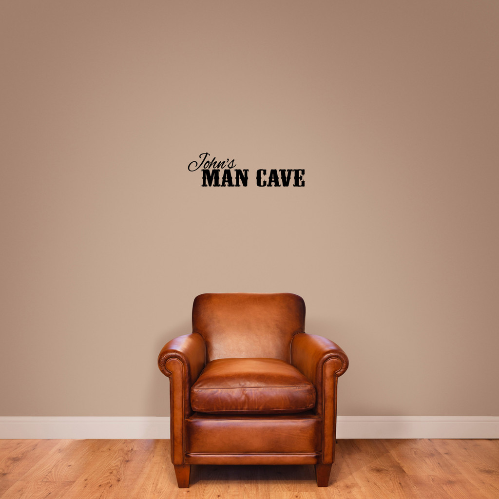 """Custom Name Man Cave Wall Decal 24"""" wide x 7"""" tall Sample Image"""