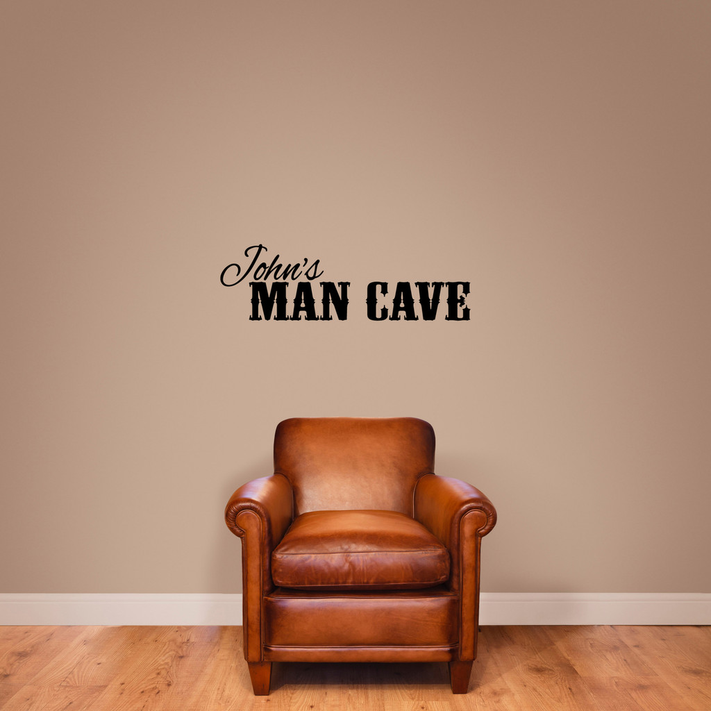 """Custom Name Man Cave Wall Decal 36"""" wide x 11"""" tall Sample Image"""
