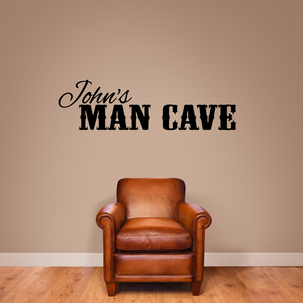 """Custom Name Man Cave Wall Decal 60"""" wide x 17"""" tall Sample Image"""