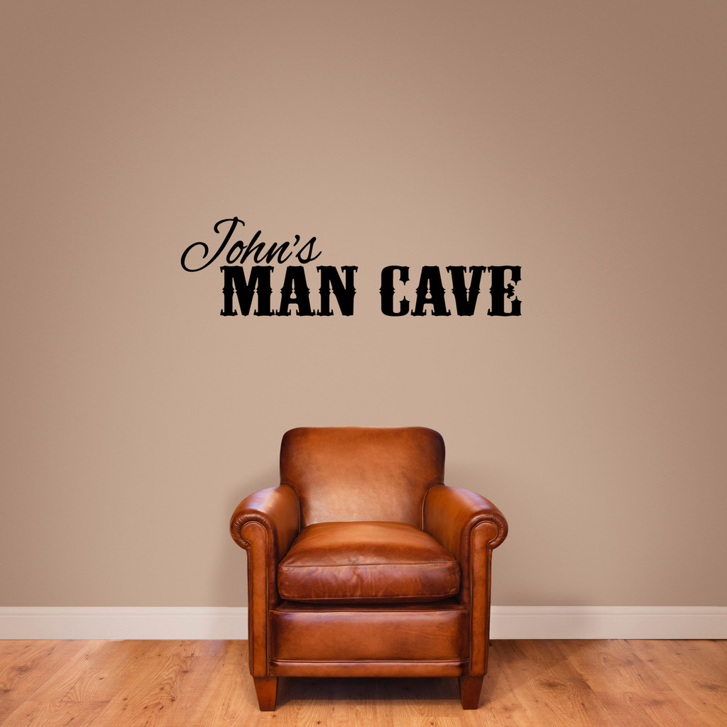 """Custom Name Man Cave Wall Decal 48"""" wide x 14"""" tall Sample Image"""