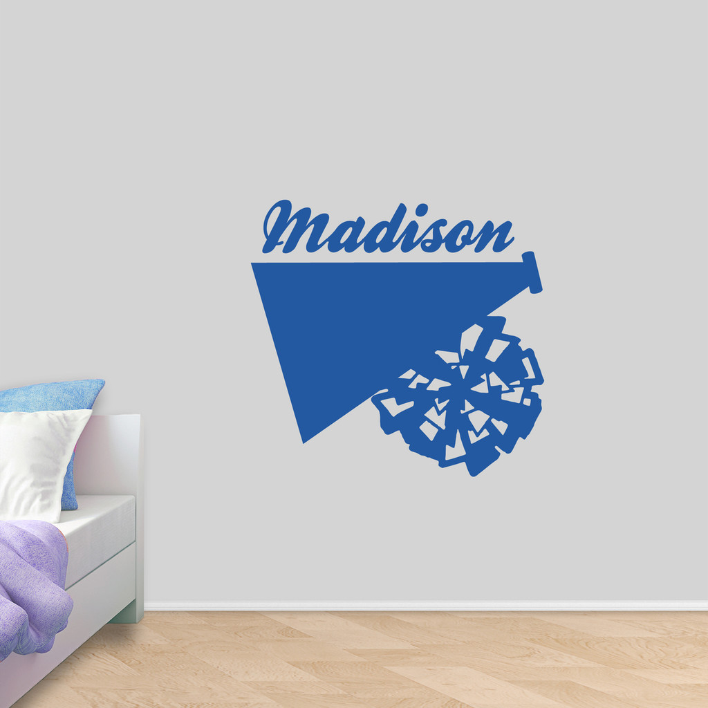 "Custom Megaphone and Pom Wall Decal 36"" wide x 34"" tall Sample Image"