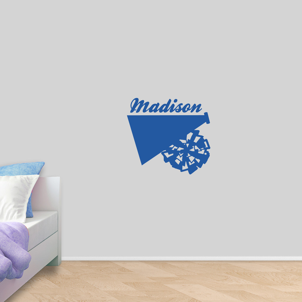 "Custom Megaphone and Pom Wall Decal 24"" wide x 22"" tall Sample Image"