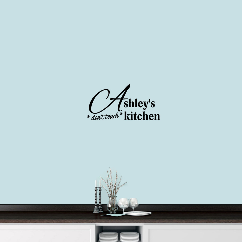 "Custom Don't Touch Kitchen Wall Decal 24"" wide x 12"" tall Sample Image"