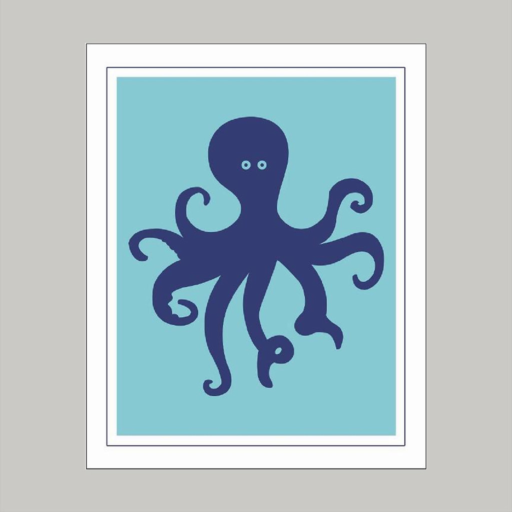 Cute Octopus -Wall Art and Wall Decal Prints