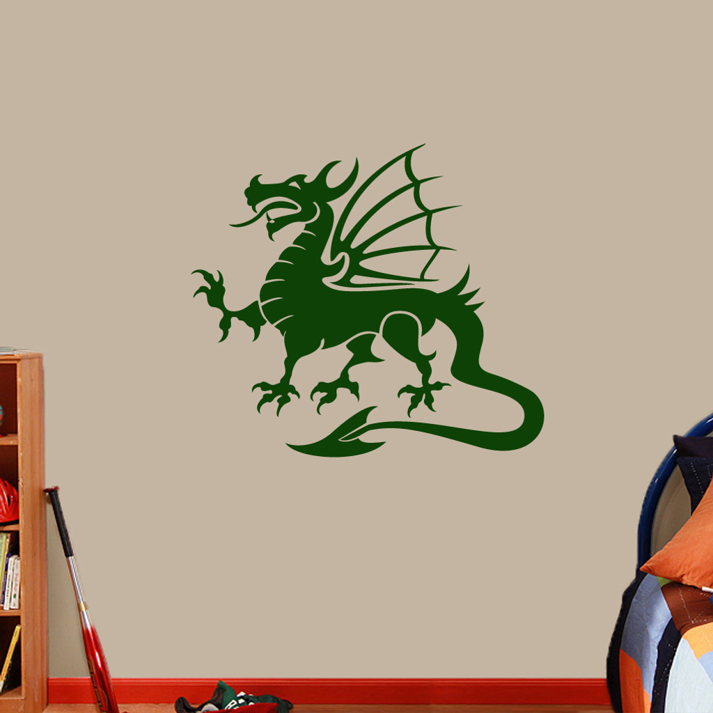 """Dragon Mascot Wall Decals 36"""" wide x 32"""" tall Sample Image"""