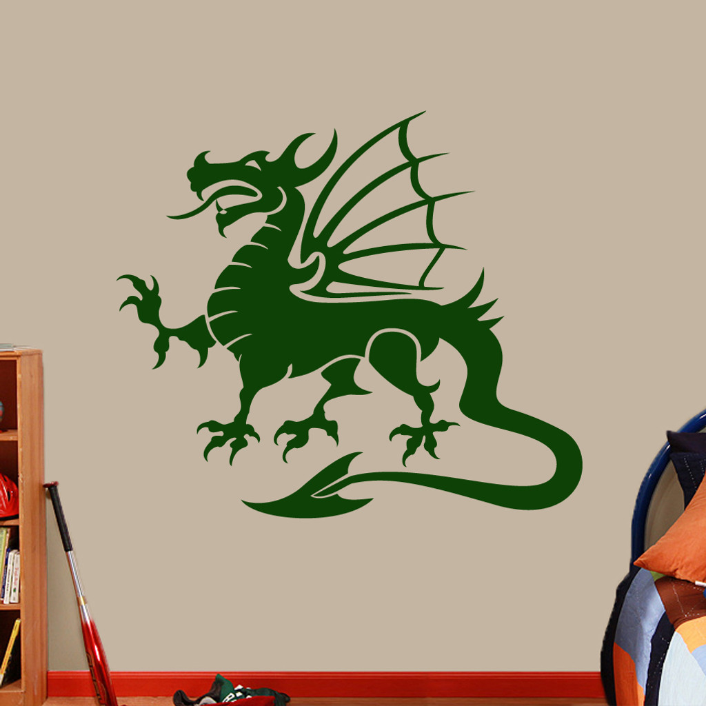 """Dragon Mascot Wall Decals 48"""" wide x 42"""" tall Sample Image"""