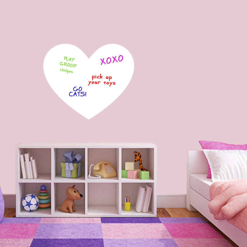 """Dry Erase Heart Wall Decals 24"""" wide x 20"""" tall Sample Image (writing not included)"""