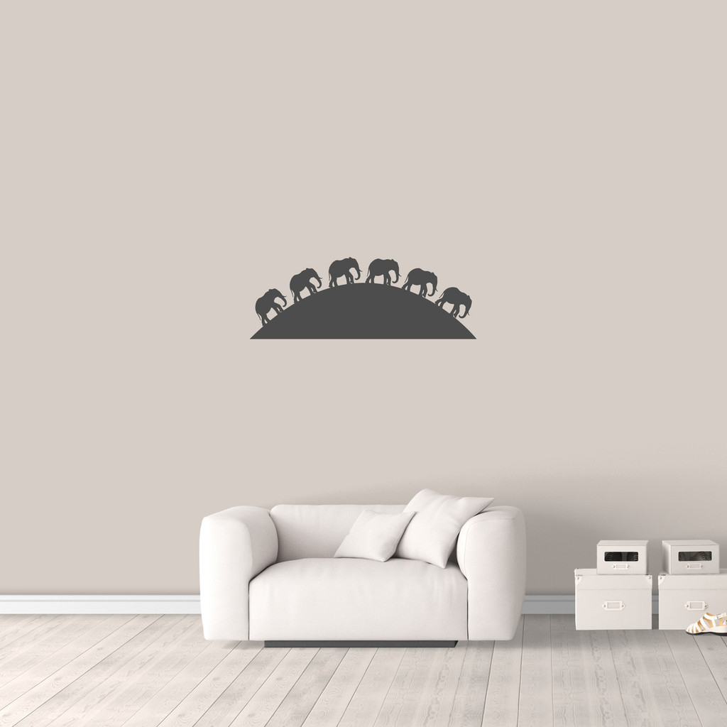 "Elephants On The Horizon Wall Decal 36"" wide x 13"" tall Sample Image"