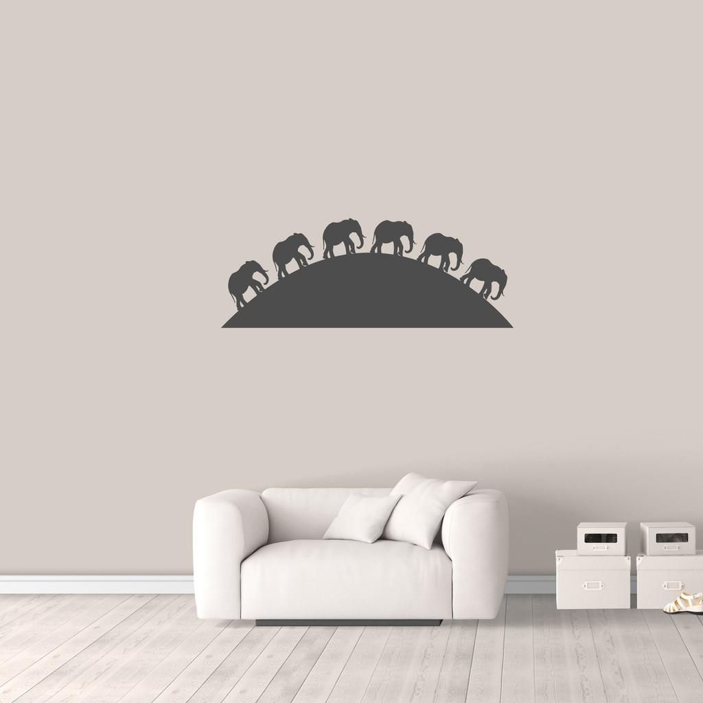 "Elephants On The Horizon Wall Decal 48"" wide x 18"" tall Sample Image"
