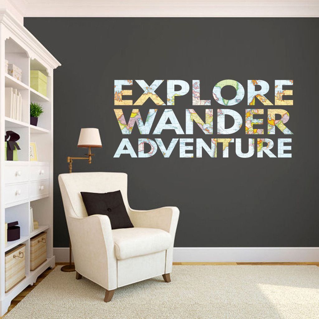 """Explore Wander Adventure Printed Wall Decals 60"""" wide x 26"""" tall Sample Image"""