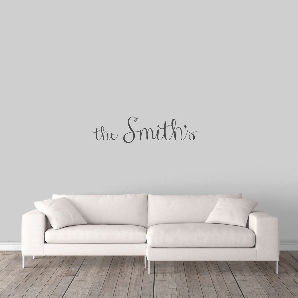 "Custom Family Name Wall Decal 36"" wide x 9"" tall Sample Image"