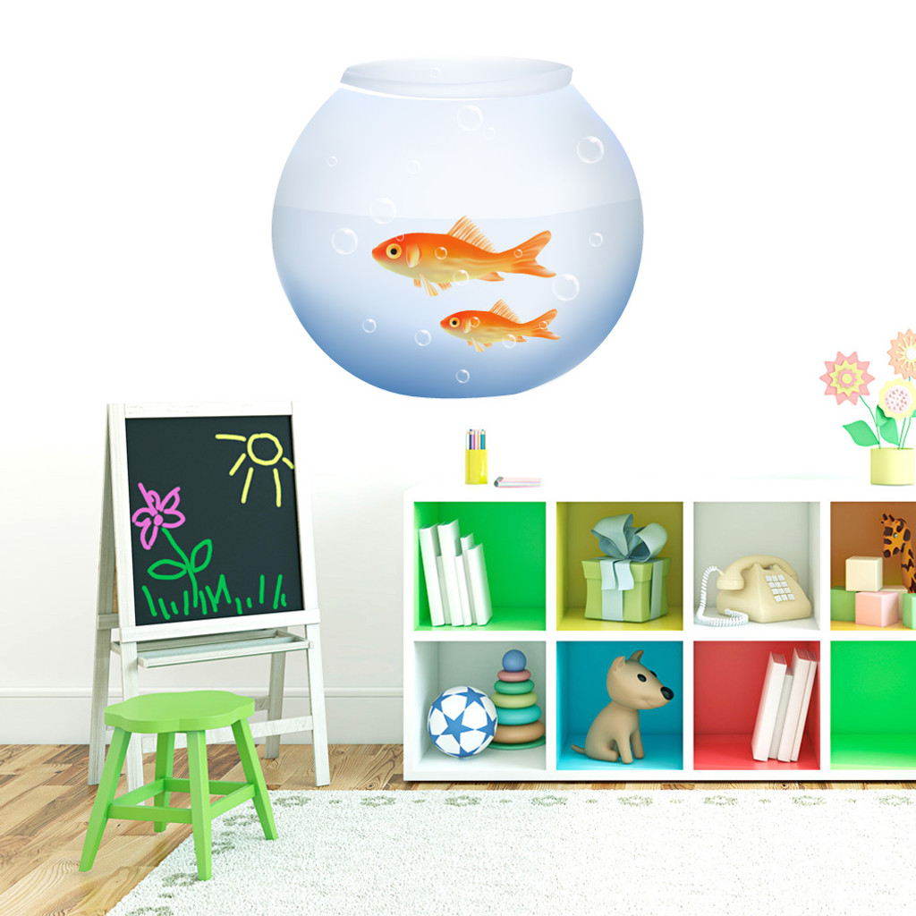 """Fish Bowl Printed Wall Decals 26"""" wide x 24"""" tall Sample Image"""
