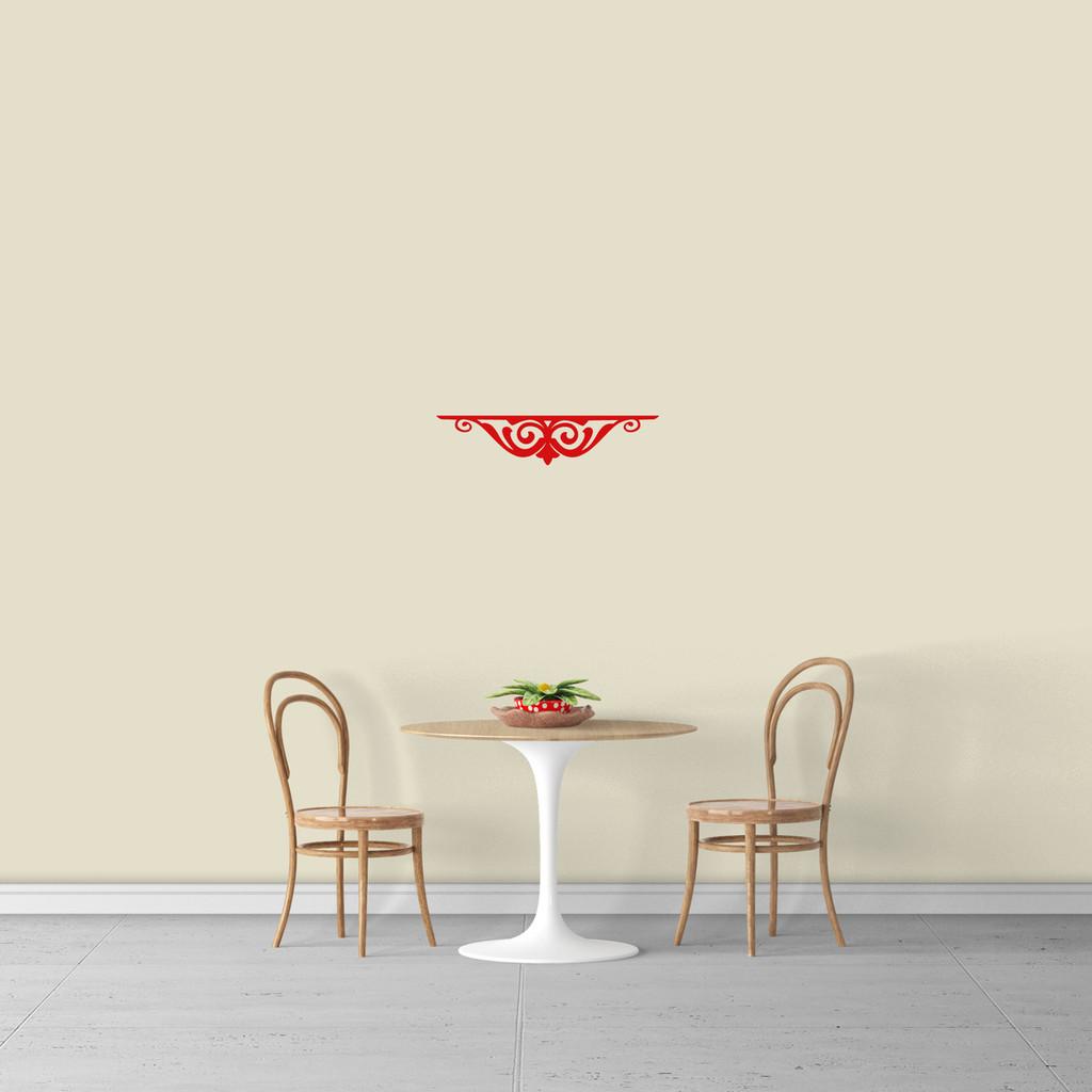 "Fancy Shelf Flourish Wall Decal 18"" wide x 4"" tall Sample Image"