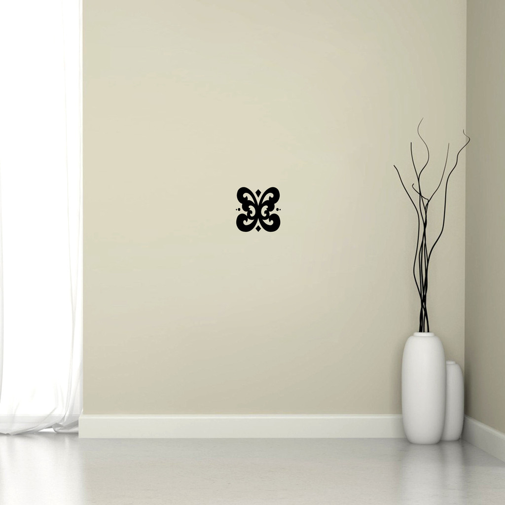 """Butterfly Flourish Wall Decal 6"""" wide x 6"""" tall Sample Image"""