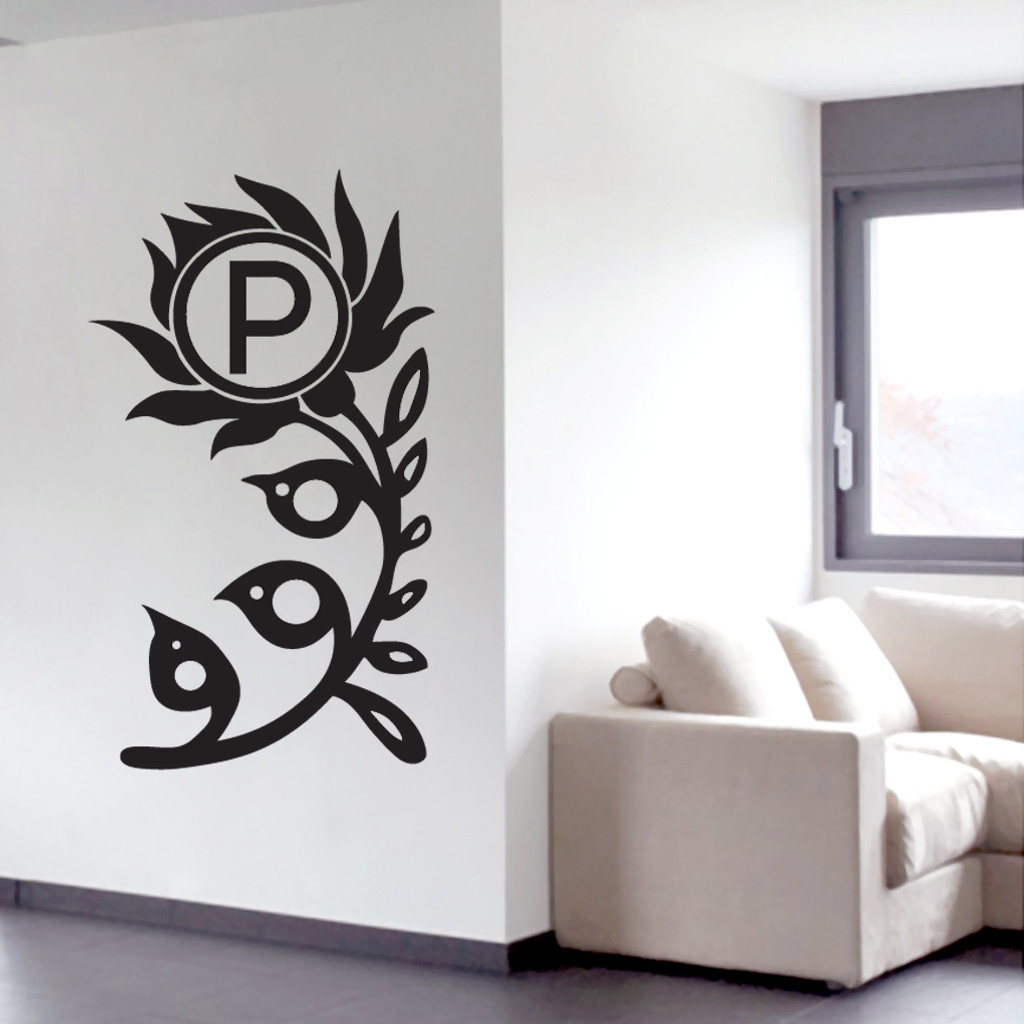 Flower Monogram Wall Decals and Stickers