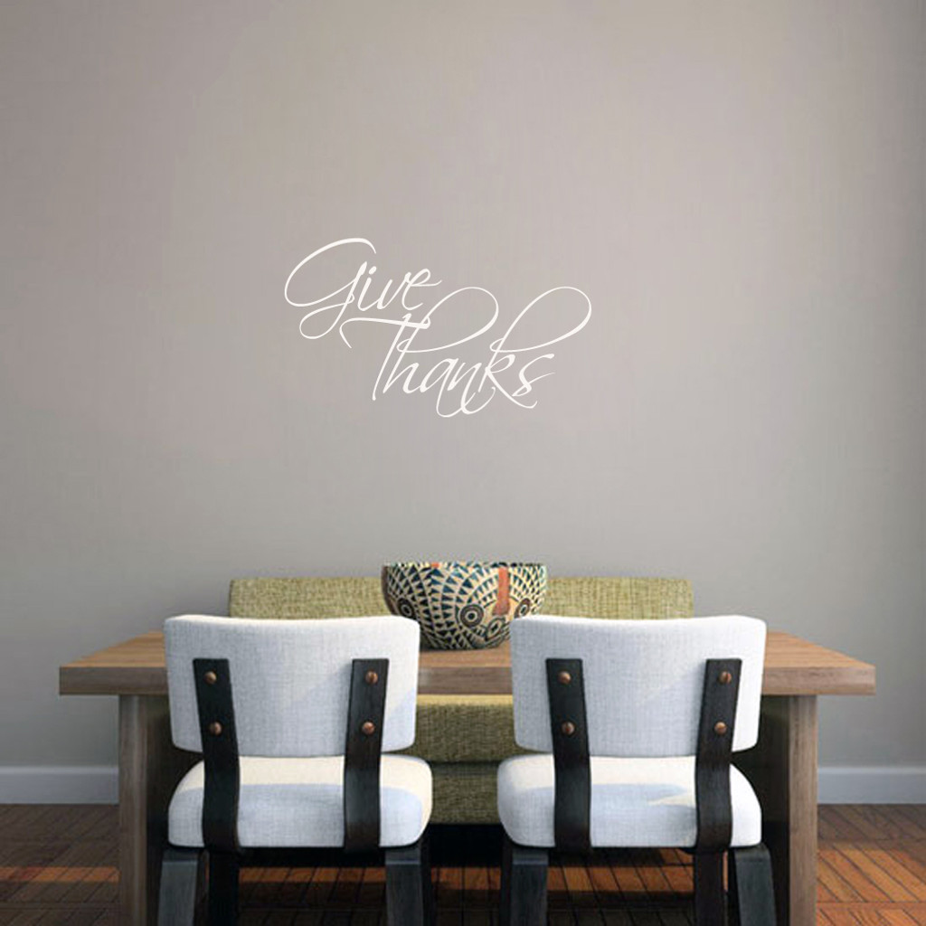 "Give Thanks Wall Decal 24"" wide x 14"" tall Sample Image"