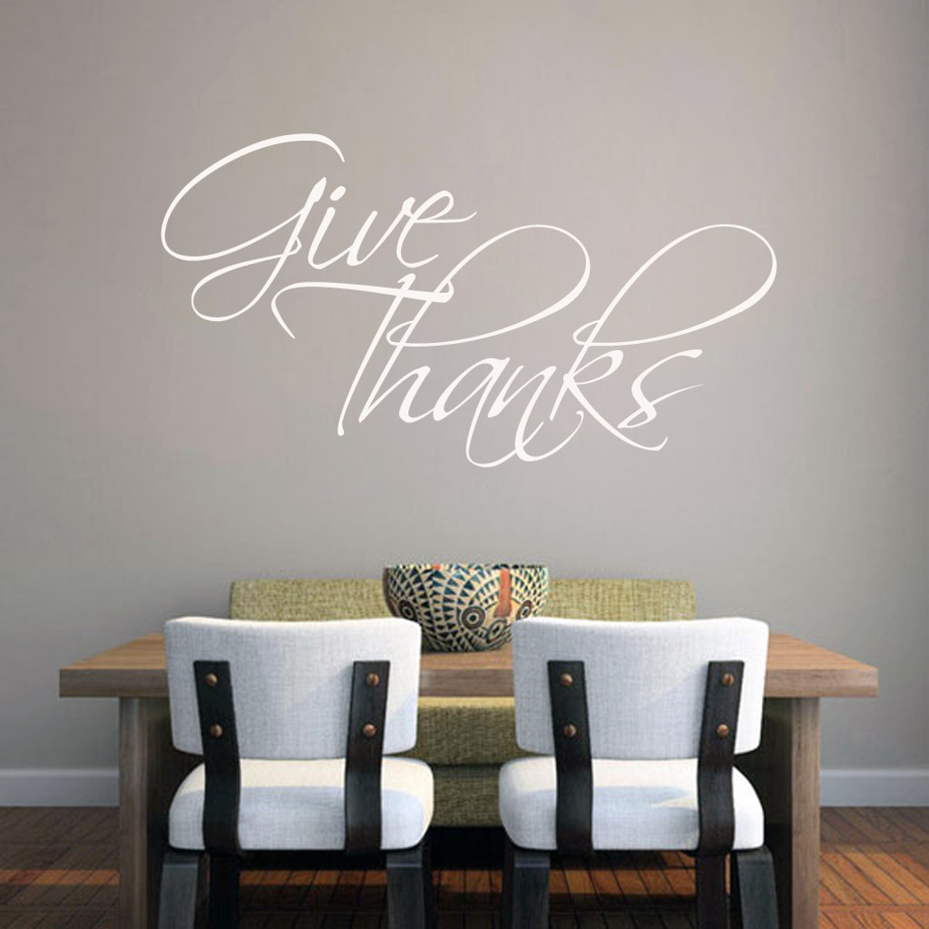 "Give Thanks Wall Decal 48"" wide x 26"" tall Sample Image"