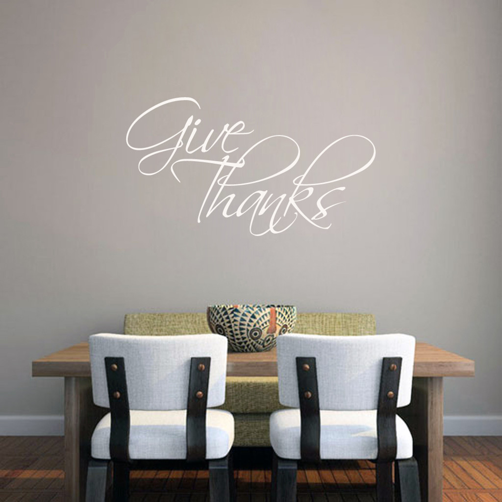 "Give Thanks Wall Decal 36"" wide x 20"" tall Sample Image"