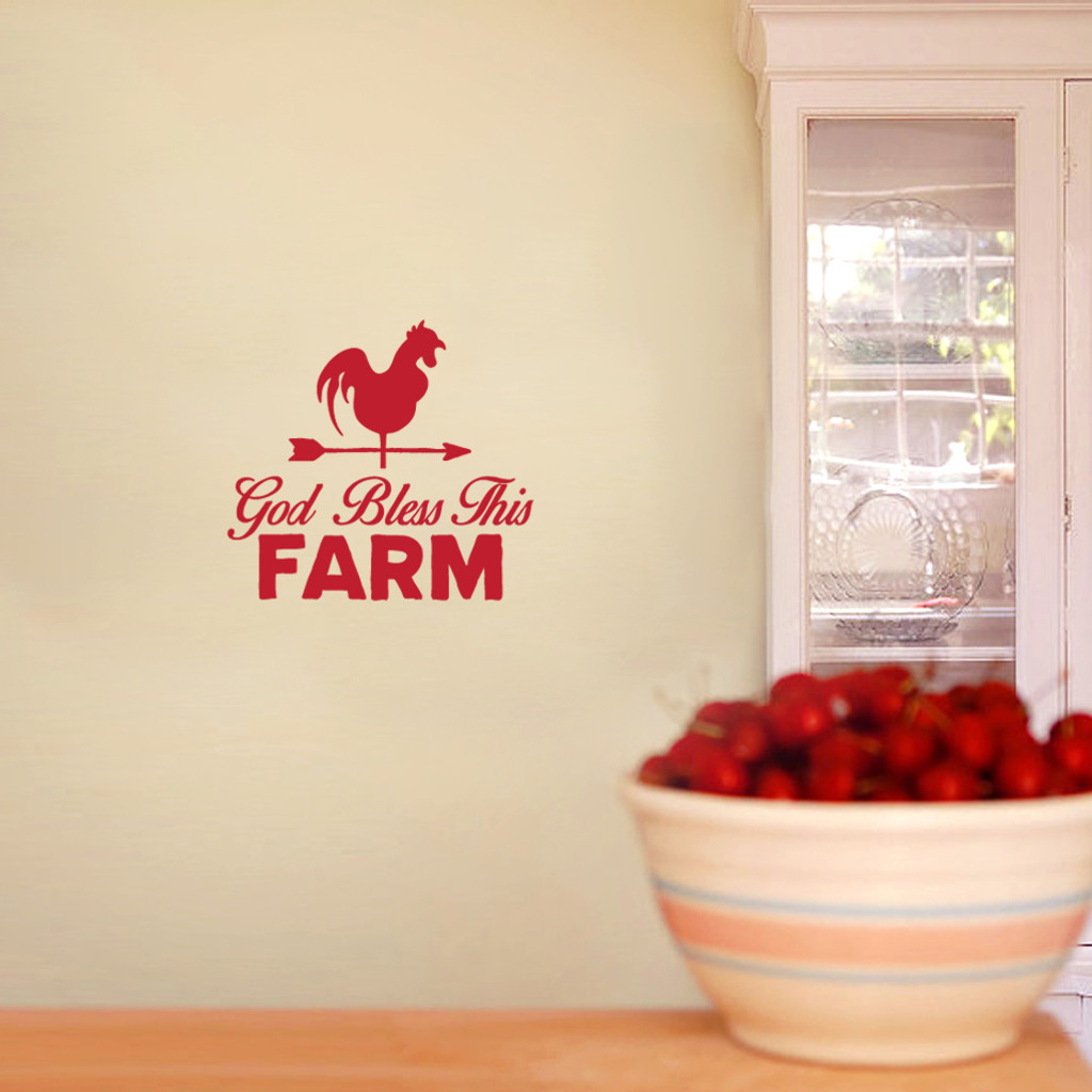 """God Bless This Farm Wall Decals 24"""" wide x 22"""" tall Sample Image"""