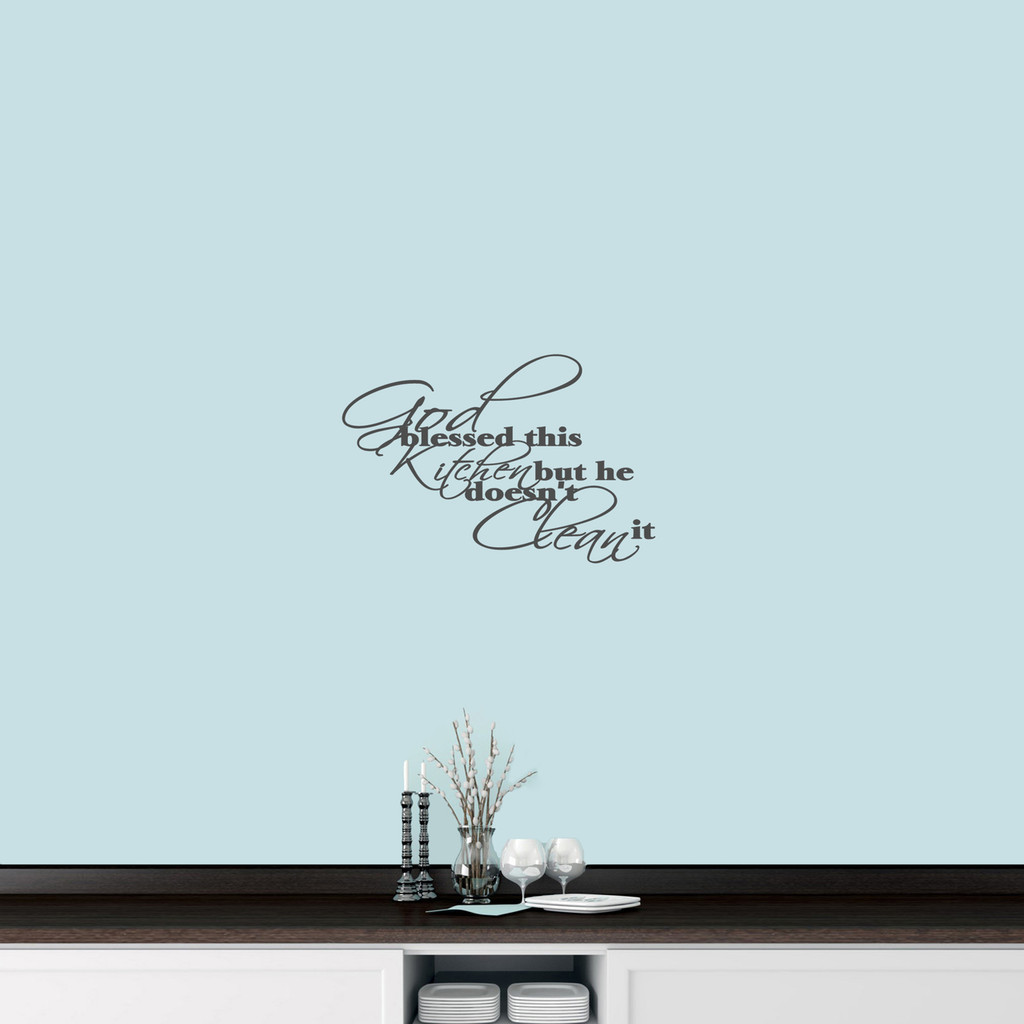 """God Blessed This Kitchen Wall Decal 18 wide x 12"""" tall Sample Image"""