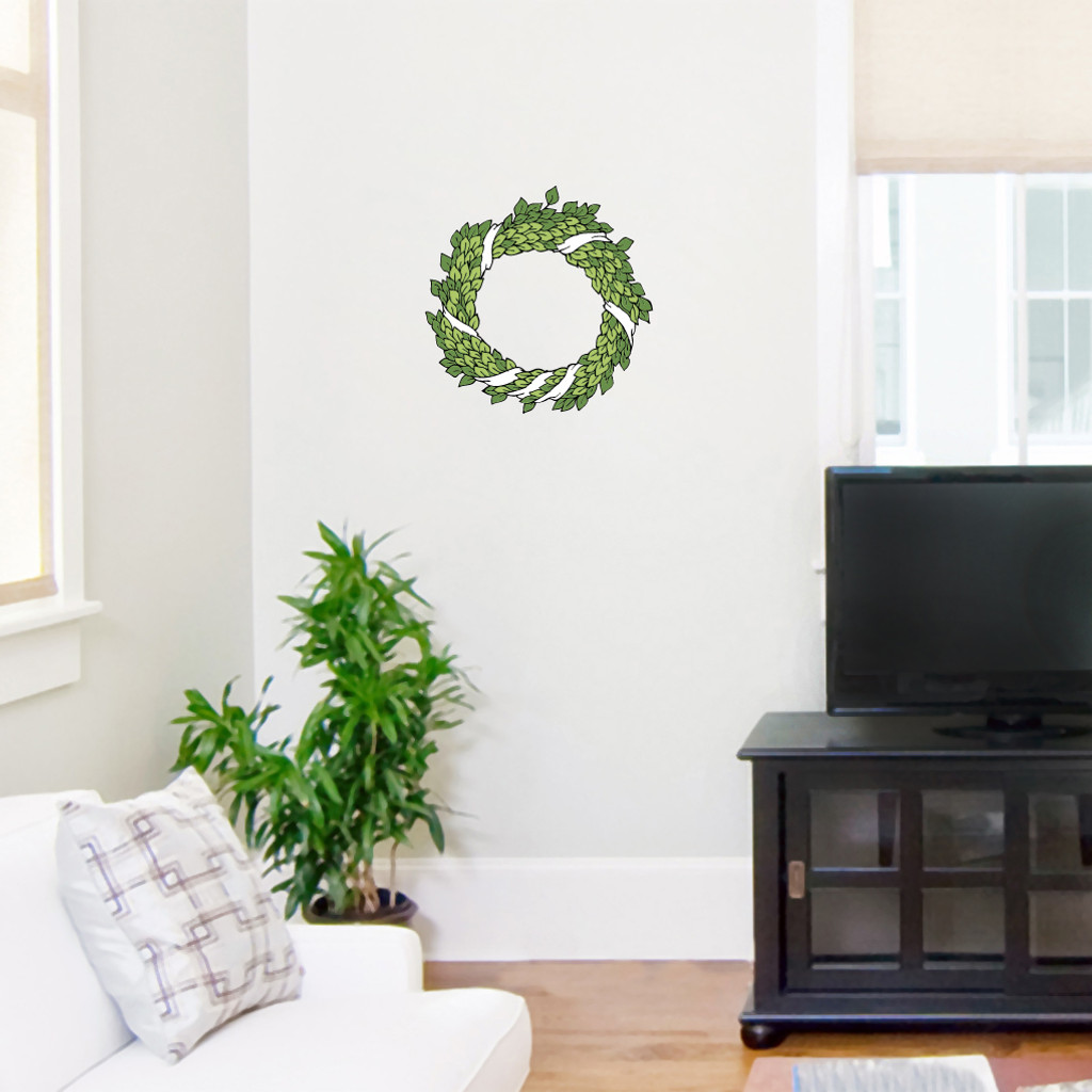"Green Wreath Printed Wall Decals Wall Stickers 12"" wide x 12"" tall Sample Image"