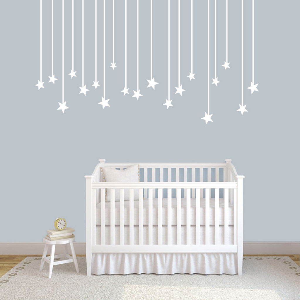 "Hanging Stars Wall Decals 72"" wide x 40"" tall Sample Image"