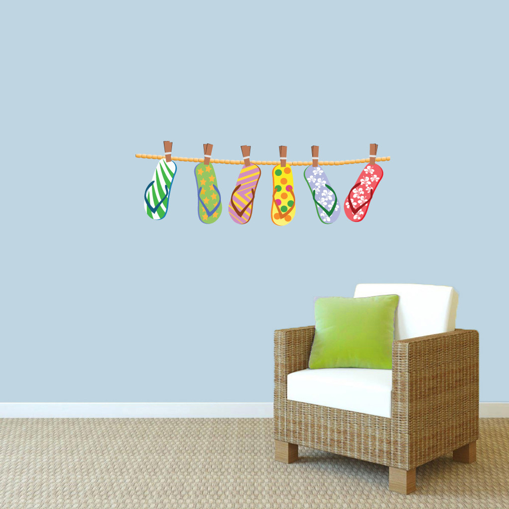 "Hanging Flip Flops Printed Wall Decals 36"" wide x 12"" tall Sample Image"