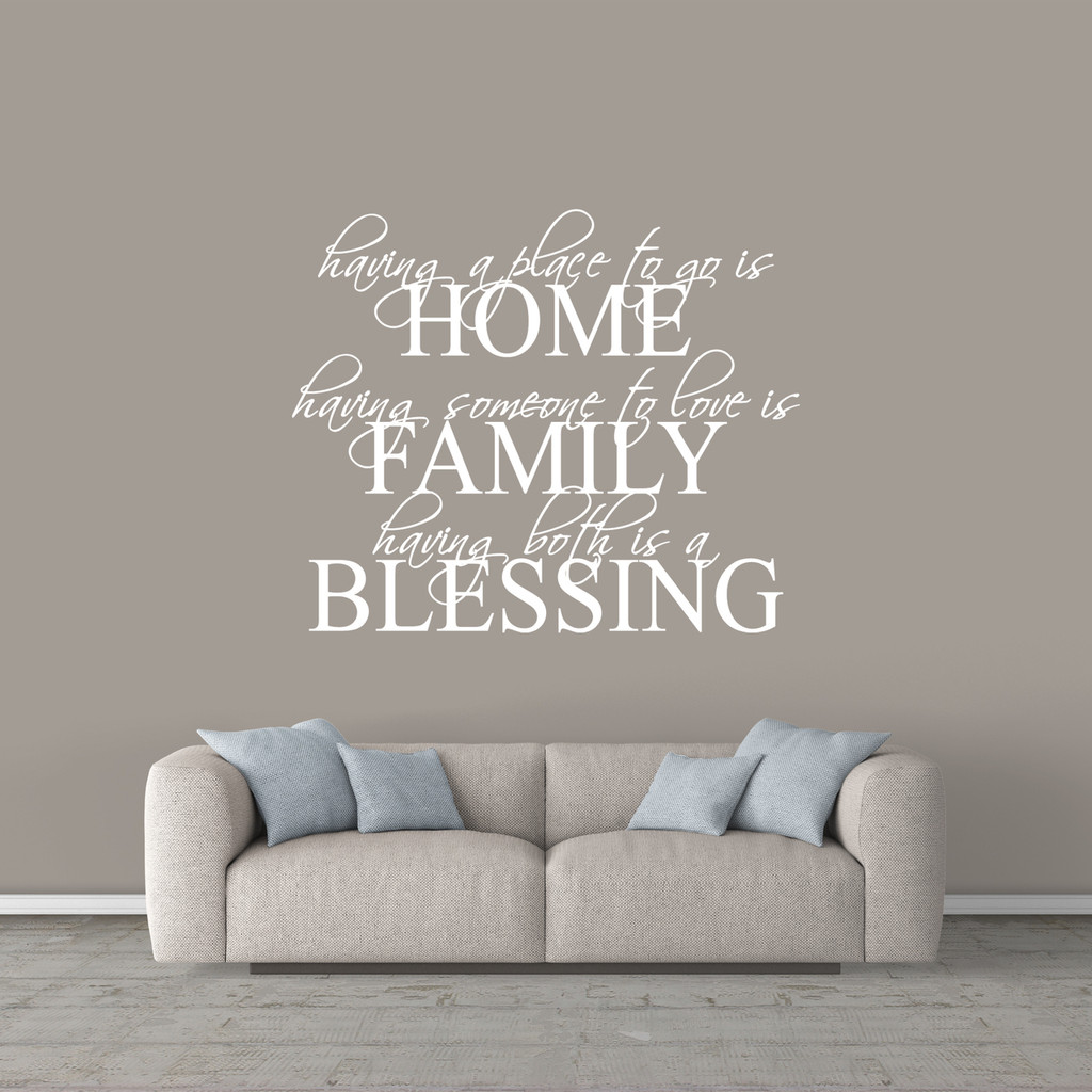 """Home Family Blessing Wall Decal 48"""" wide x 40"""" tall Sample Image"""
