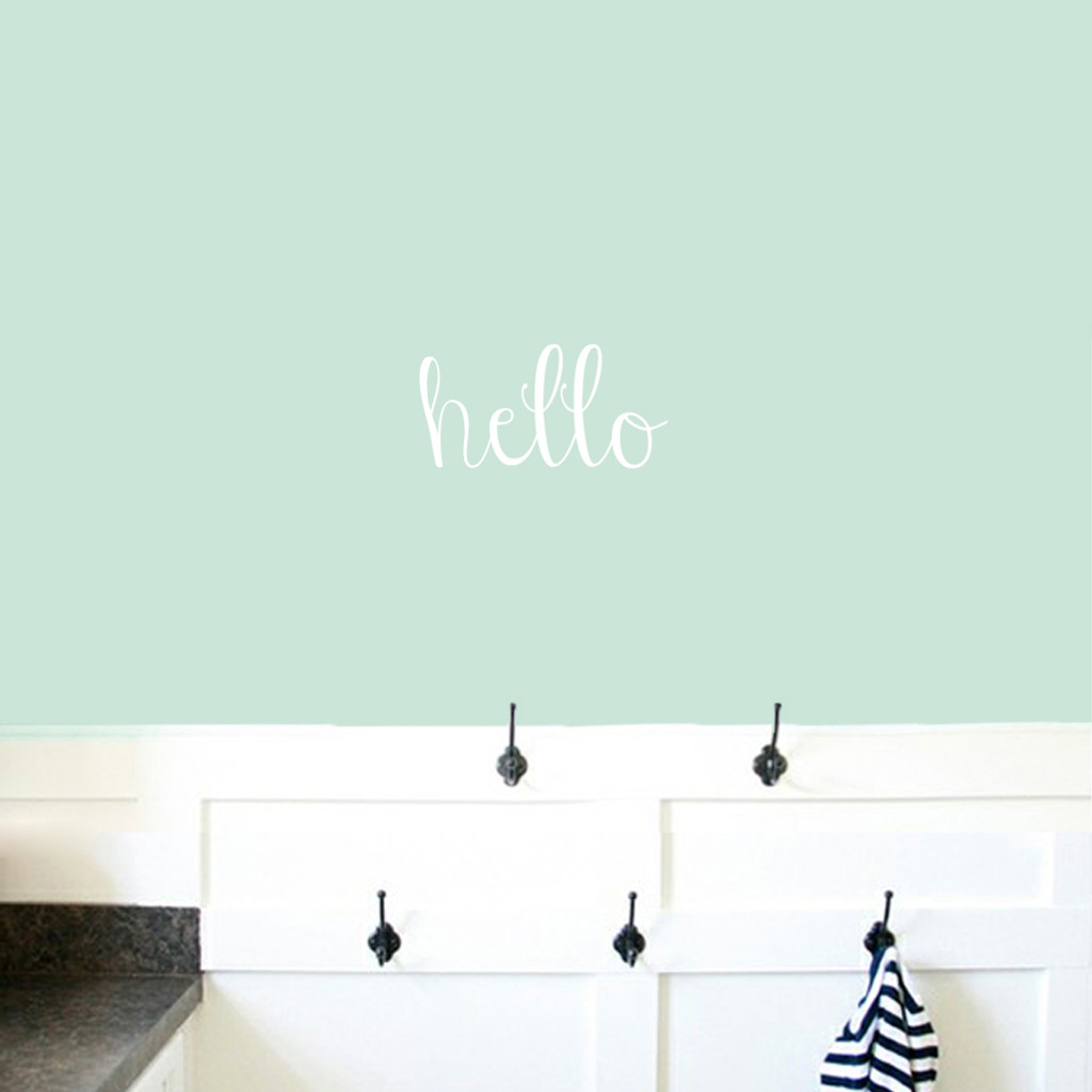 """Hello Wall Decals 12"""" wide x 6"""" tall Sample Image"""