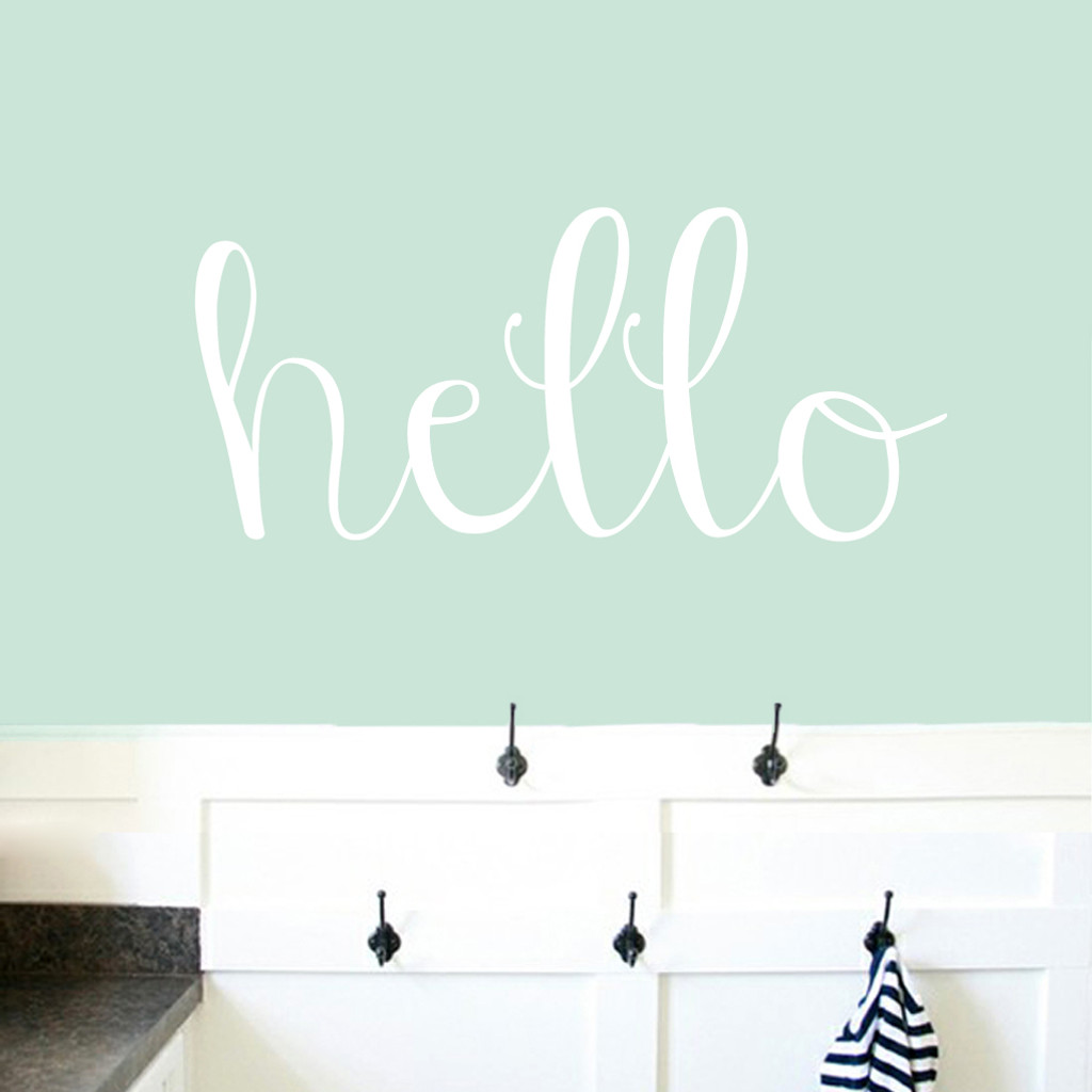 """Hello Wall Decals 36"""" wide x 16"""" tall Sample Image"""