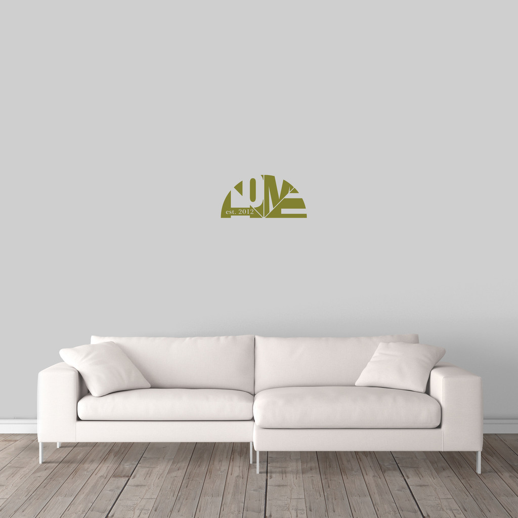 "Custom Home With Established Year Wall Decal 18"" wide x 9"" tall Sample Image"