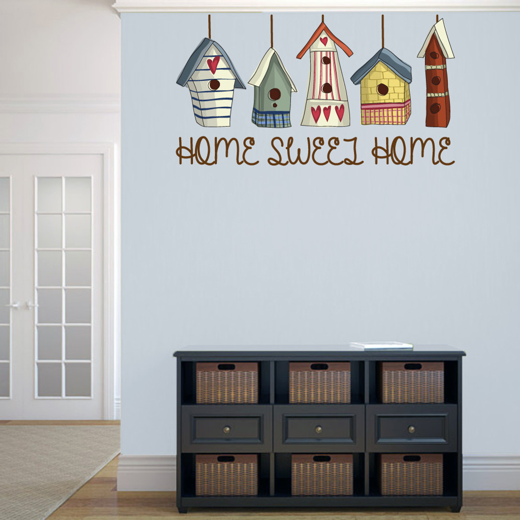 "Home Sweet Home Bird Houses Printed 48"" wide x 26"" tall Sample Image"