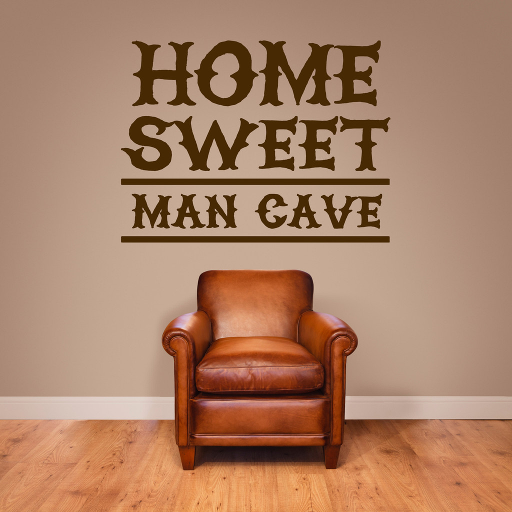 """Home Sweet Man Cave Wall Decal 36"""" wide x 27"""" tall Sample Image"""