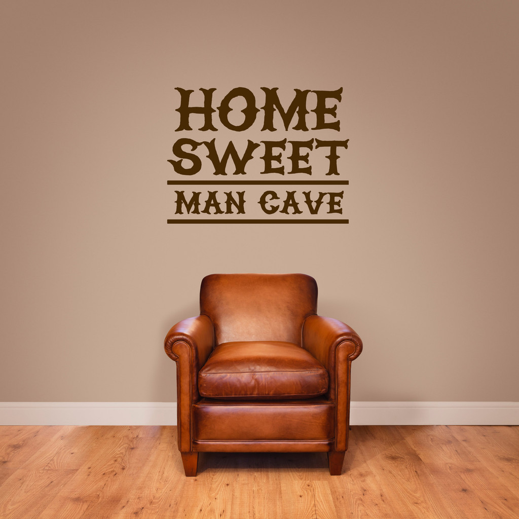 """Home Sweet Man Cave Wall Decal 24"""" wide x 18"""" tall Sample Image"""