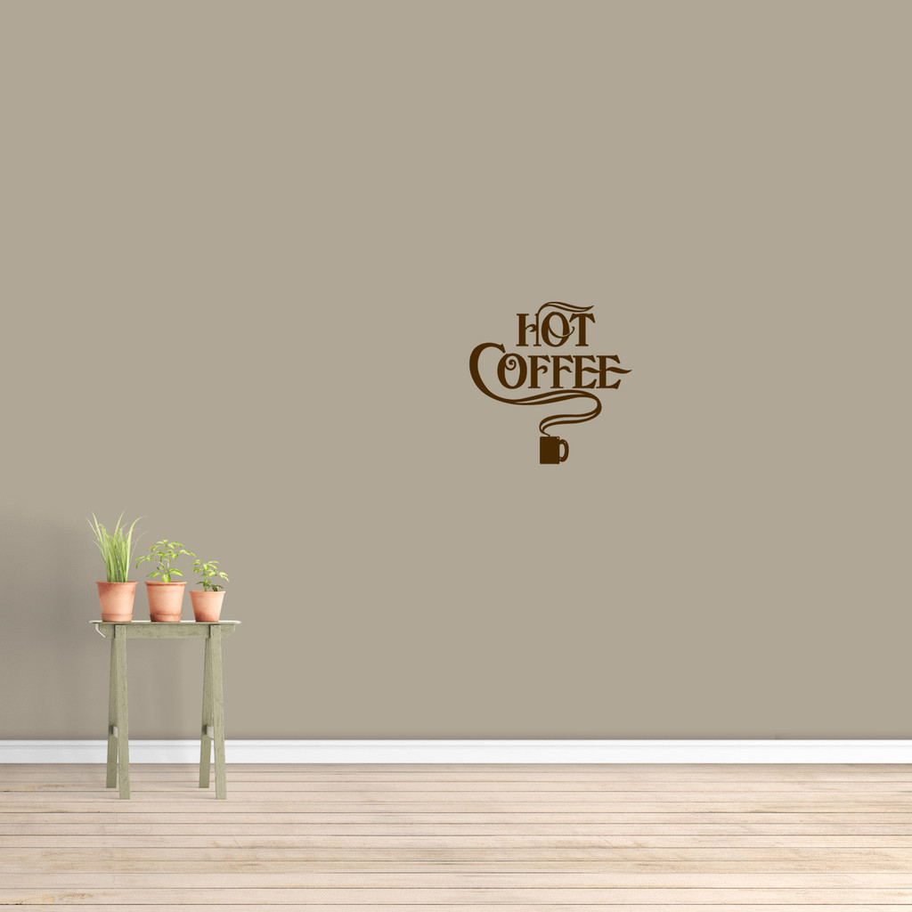 """Hot Coffee Wall Decal 12"""" wide x 12"""" tall Sample Image"""