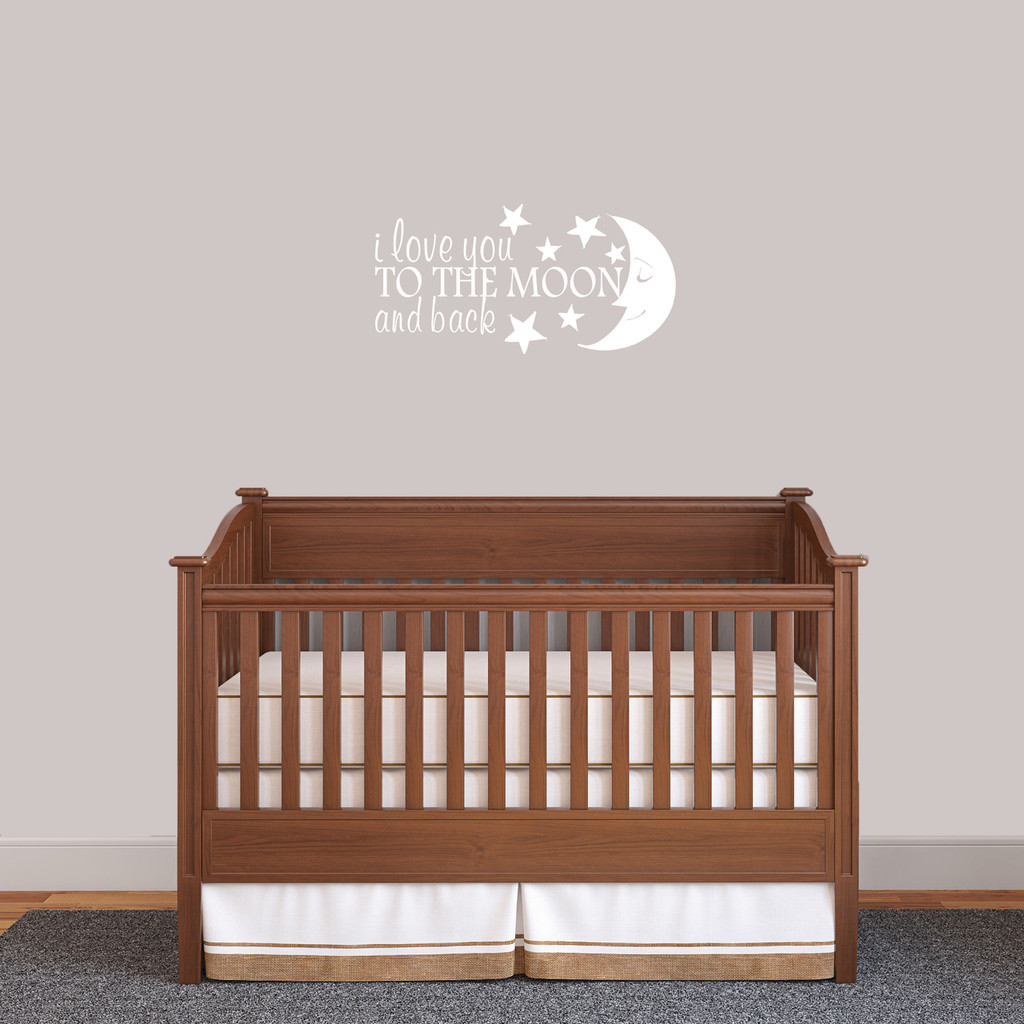 """I Love You To The Moon And Back Wall Decal 24"""" wide x 12"""" tall Sample Image"""
