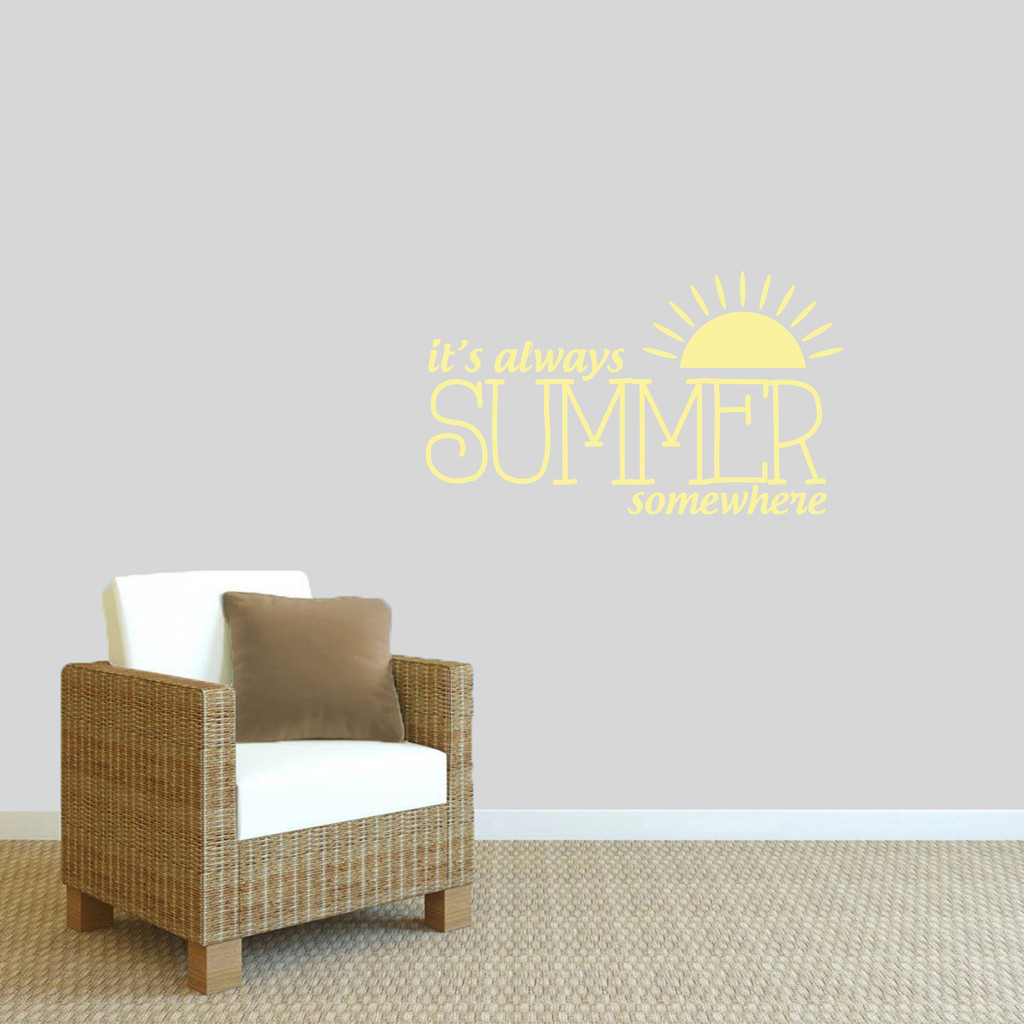 """It's Always Summer Somewhere Wall Decal 36"""" wide x 21"""" tall Sample Image"""