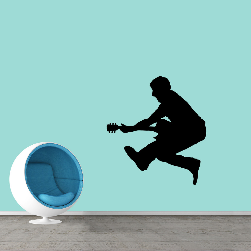 """Jumping Guitar Player Wall Decal 33"""" wide x 36"""" tall Sample Image"""